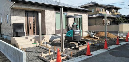 香川県高松市K様邸新築外構 型枠工事