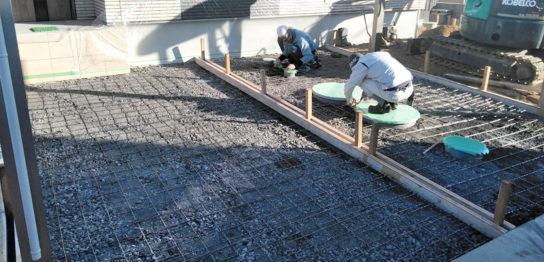 香川県高松市K様邸新築外構 土間コンクリート打設準備